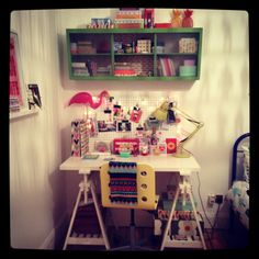 My desk space at home! An old vintage kitchen unit brought back to life with some green paint!