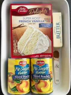 Peach Cobbler Dump Cake Cobbler Dump Cake Peach Desserts 4 Ingredients is all you need for this easy and delicious dessert Serve with vanilla ice cream for the best family dessert Peach Cobbler Dump Cake, Peach Cake, Easy Peach Cobbler Recipe With Cake Mix, Cake Mix Cobbler, Peach Dump Cakes, Sugar Free Peach Cobbler, Fruit Cobbler, French Vanilla Cake, Vanilla Cake Mixes