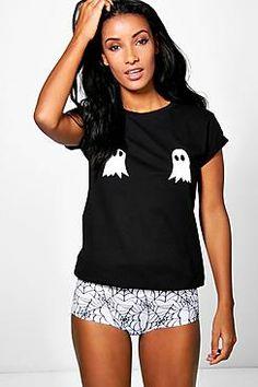 Erin Halloween Ghost Knicker And Tee PJ Set $20