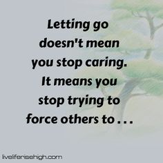 Letting go doesn't mean you stop caring. It means you stop trying to force others to . Stop Caring, Stop It, Food For Thought, Letting Go, Let It Be, Thoughts, Quotes, Quotations, Lets Go