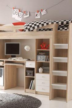 50 Unique Bett Im Schrank La Photographie Boys Loft Beds, Twin Bunk Beds, Kid Beds, Loft Bed Desk, Kids Bedroom, Bedroom Decor, Modern Small Bathrooms, Boys Room Design, Bedding Inspiration
