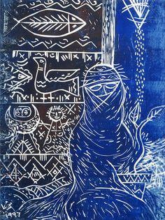 Op de linoleum hierboven worden een aantal simpele, sombere kleuren gebruikt. dit geeft de lino een heel diepgaand effect, wat ik erg leuk en knap gedaan vind voor een lino schets. deze lino heet 'lonely woman' en is ook gemaakt door Thuraya Al-Baqsami.
