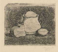 Giorgio Morandi - Natura morta con zuccheriera, limone e pane - Acquaforte su rame - cm. 8,4x10,1 (lastra), cm. 19,2x25,5 (carta)