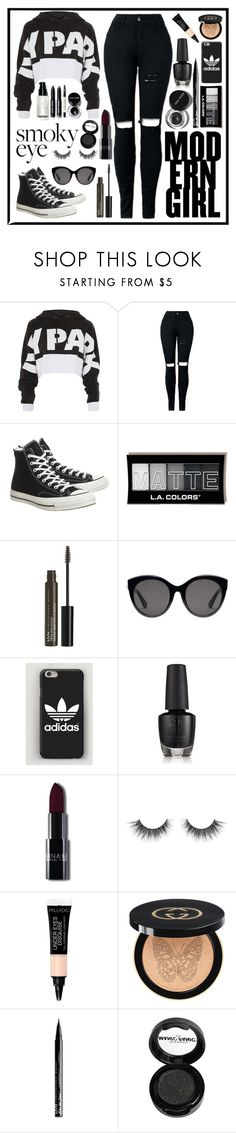 """""""Cool in Black"""" by izzwhizzicorn on Polyvore featuring Topshop, Converse, Bobbi Brown Cosmetics, NYX, Gucci and Manic Panic NYC"""