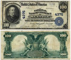 Rare U,S, Currency Notes   1902 $ 100 national bank note plain back charter 4375