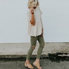 okay, seriously, how cute?! | ripped olive green jeans, peplum top, neutral, army green, fashion inspiration, casual, everyday, day to night, date outfit, minimalist, minimalism, minimal, simplistic, simple, modern, contemporary, classic, classy, chic, girly, fun, clean aesthetic, bright, white, pursue pretty, style, neutral color palette, inspiration, inspirational, diy ideas, fresh, street style, on point, trendy, on trend, glam, tousled, boho, stylish, 2018, sophisticated