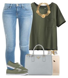"""Army Green."" by livelifefreelyy ❤ liked on Polyvore featuring Uniqlo, Frame Denim, Prada, Vans and Versace"