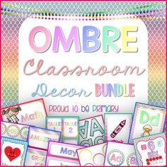 OMBRE Classroom Decor Bundle {450 pages} by Proud to be Primary www.proudtobeprimary.com