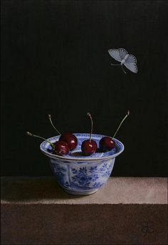 Aad Hofman, [Dutch contemporary realist painter b.1944] Kersen (Cherries), 2008