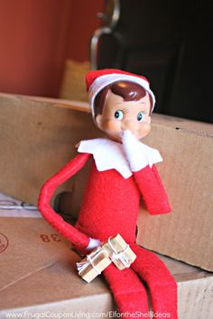 Elf on the Shelf Ideas –  Elf Delivers Packages plus daily Elf on the Shelf Ideas on Frugal Coupon Living. FREE Printable Notes.