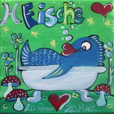 Sternzeichen - Fische - handgemalt von Maren Schmidt auf DaWanda.com