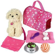 Click n' Play 9 piece Doll Puppy Set and Accessories. Perfect For 18 inch American Girl Dolls - Most Wanted Christmas Toys Little Girl Toys, Cool Toys For Girls, Christmas Toys For Girls, Dolls For Girls, American Girl Doll Sets, 10 Year Old Girl, Baby Alive, Toy Store, Girl Gifts