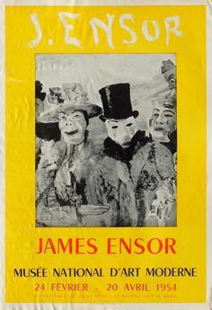Ensor james - affiche offset - musée de l'orangerie 1954