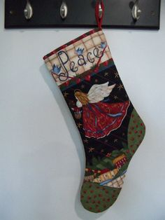 Christmas Stocking Peace Angel Stocking Holiday by PerfectStitches