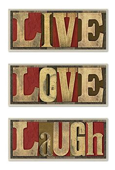 awesome The Stupell Home Decor Collection Live Love Laugh 3-Piece Wall Art Set 3 Piece Wall Art, Wall Art Sets, Love Wall, New Wall, Triptych Wall Art, Canvas Wall Art, Wooden Wall Art, Metal Wall Art, Wall Plaques
