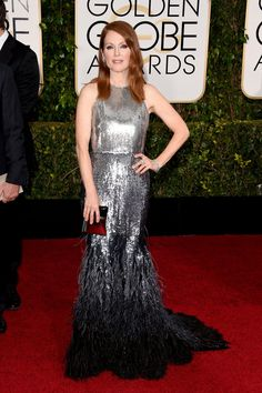 Julianne Moore in a metallic Givenchy gown that pooled into feathers.at the Golden Globe Awards 2015 - NYTimes.com