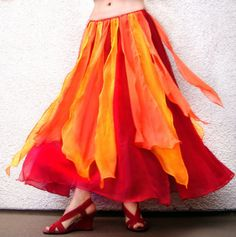 BELLY DANCE COSTUME SKIRT RED ORANGE FIRE COLOR, SIZE S NEW