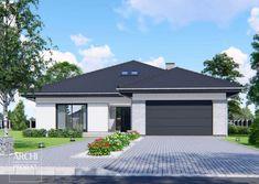 Projekt domu APS 314 od Archi-Projekt House Roof Design, House Outside Design, Facade House, Modern House Design, Beautiful Small Homes, Beautiful House Plans, House Exterior Color Schemes, House Paint Exterior, Simple House Plans