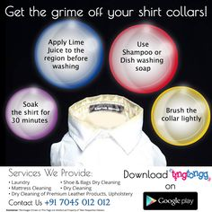 Tricks to keep your shirt collar clean!  Don't intend to take the trouble give us a call: +91 7045 012 012 #Download the #App - https://play.google.com/store/apps/details?id=com.ting.tongg&hl=en #Drycleaning #washing #laundry #service #Mumbai