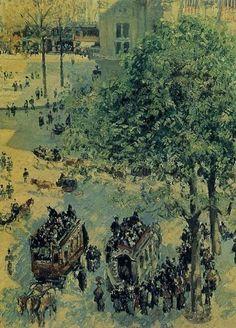 """Camille Pissarro (1830-1903) ~ """"Paris, Place du Théâtre Français"""", 1898 (Détail) ~ Huile sur Toile Originale 73 x 92 cm ~ Los Angeles, County Museum of Art"""