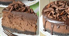 Calling all chocolate lovers! This Triple Chocolate Cheesecake is rich,creamy, and decadent.The best chocolate cheesecake recipe, rich and chocolatey. Best Chocolate Cheesecake, Oreo Crust Cheesecake, Chocolate Treats, Chocolate Lovers, Chocolate Recipes, Chocolate Chocolate, Gelatine, Cookie Crust, Savoury Cake