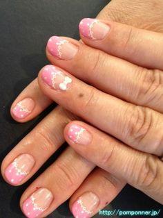 French cute lace nail    かわいいレースのフレンチネイル