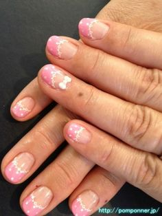 French cute lace nail   #名古屋 #ネイル  かわいいレースのフレンチネイル
