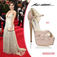 527c4530c2cc Jessica Alba in Brian Atwood Gold Leather Aida Platform Sandals Celebrity  Shoes
