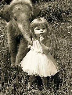 with her baby elephant