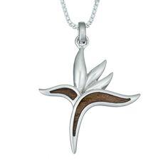 Hawaiian Birds Of Paradise Koa Wood Necklace