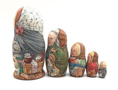 Unique Russian Nesting DOLL Hand Painted in watercolor One of kind Babushka set | eBay