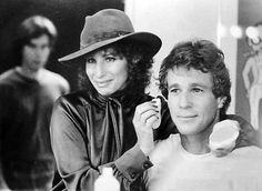 Getting made up to film The Main Event — with Barbra Streisand and Ryan O'Neal. Robert Redford, Latest Comedy, Ryan O'neal, Wedding People, Kris Kristofferson, Don Johnson, Barry Gibb, Barbra Streisand, Comedy Films