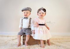 Boy girl twins, photography, valentines Day, vintage, one year old twins