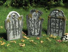 Lapide in polistirolo da giardino con scheletro - da 56 cm con muffa