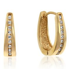 Elegant Gold Tone CZ Hoop Earrings
