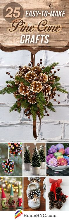 Cratone 25 PCS Christmas Pine Cones Creative Pinecone Bell Berries Great for Holiday Crafts DIY Party D/écor Pine Holly Flower Red Holly Berry Pine Cones Christmas Floral Decorations