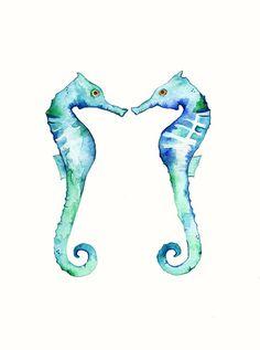 Seepferdchen Bella blau / Aquarell Druck / blau / von kellybermudez