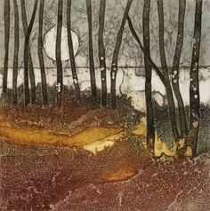 Silvery Moon. Original hand inked collagraph by rossthompsonprints