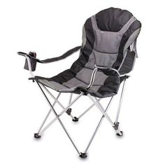 Picnic Time Portable Reclining Camp Chair Fishing Black