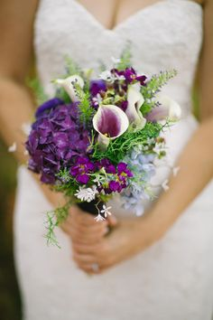 Purple and white calla lily bouquet {Faces Photography}