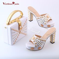 New Women Pumps Feminino High Quality Fashion Sandals Italian Shoes And Bags To Match With Sheet Metal African Shoulder 2017