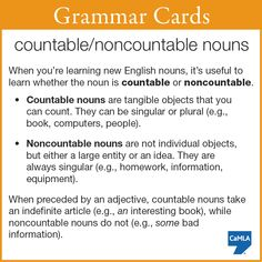 """Here's a tip about countable and noncountable nouns. And, in case you didn't know what it means, """"e.g."""" means """"for example""""! In case anyone asks why does e.g. mean """"for example"""": it stands for exempli gratia—""""for the sake of example"""" ;O)"""
