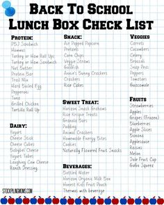 Back To School Lunch Box Checklist