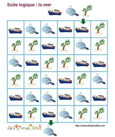 jeu pour enfant à imprimer : suite logique sur le thème de la mer - Tête à modeler