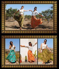Woman Skirt. Green, Orange, Yellow. Flowery print Orange Yellow, Boho Fashion, Queens, Sequin Skirt, Sequins, Woman, Skirts, Clothes, Skirt