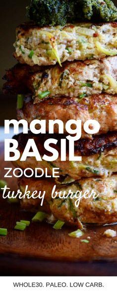 Basil Mango Zoodle Turkey Burgers (Whole30, Paleo!) – Castaway Kitchen