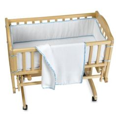 Tadpoles™ White Eyelet 3-Piece Cradle Set with Blue Trim - BedBathandBeyond.com