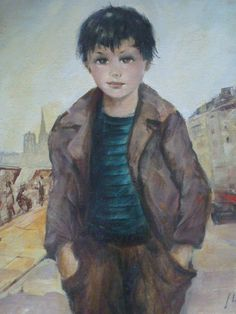Signed Big-Eyes Young boy, DAC Collection - Donald Art Company Collection