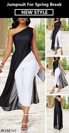 Color Block Chiffon Overlay One Shoulder Jumpsuit New arrivals are hitting the site just in time to freshen up your Fashion Wear, Fashion Pants, Curvy Fashion, Fashion Outfits, Womens Fashion, Classy Outfits, Chic Outfits, Dress Outfits, Dress Shoes