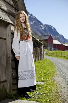 Bunad (traditional Norwegian folk costume). Hardangerfjord, Norway.